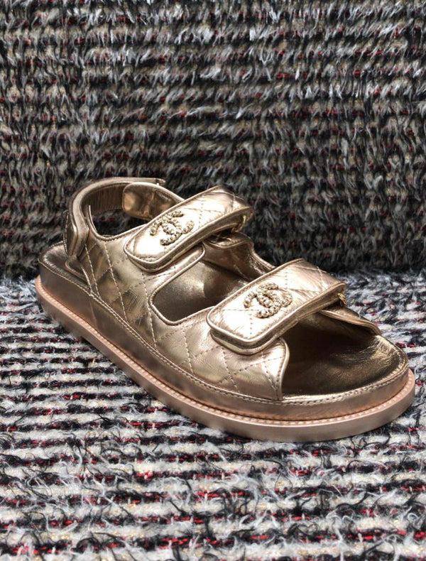 Chanel Metallic Leather CC 'Dad' Sandals (Bronze)