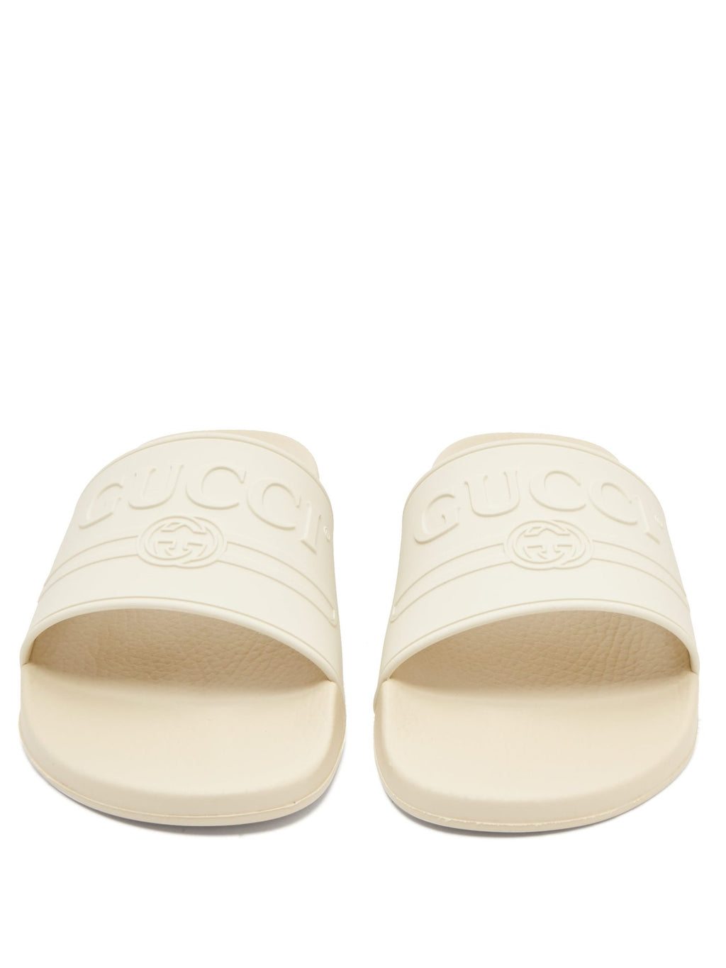 fcacf82c74b Gucci Rubber Logo Pool Slides White SS18 – The Luxury Shopper