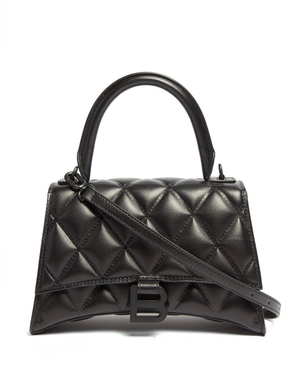 Balenciaga Hourglass Quilted Leather Bag - Black