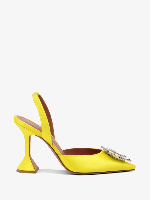 Amina Muaddi Begum Crystal Satin Yellow Slingback Pumps