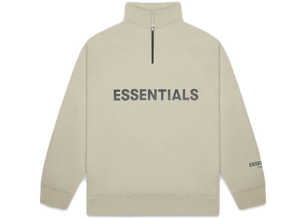 Fear Of God ESSENTIALS Half Zip Sweatshirt Beige