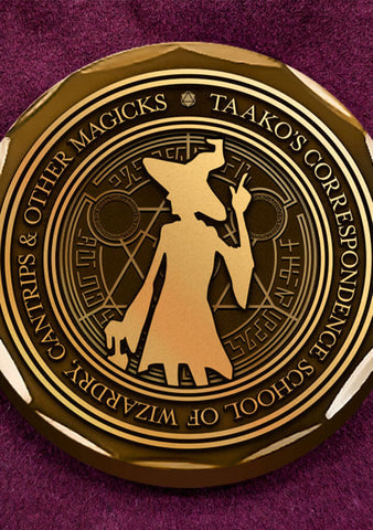 Challenge Coin - Taako's Correspondence School of Wizardry, Cantrips & Other Magicks - Mysterious Package Company