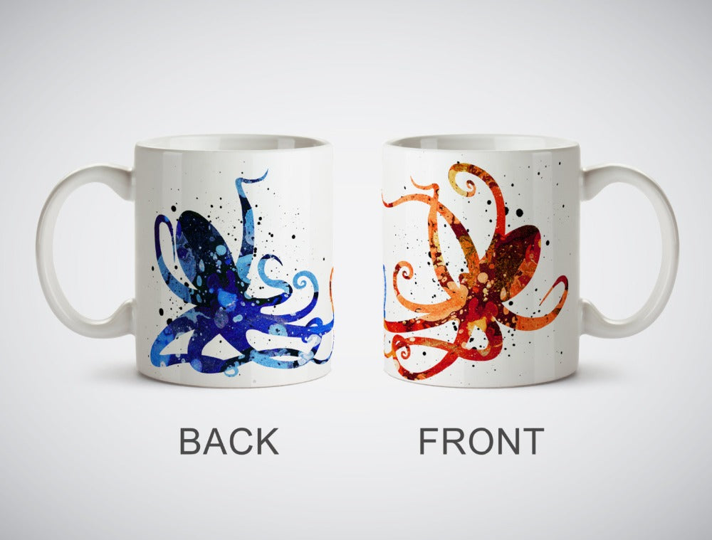 Artsy Octopus porcelain coffee mugs *FREE SECURED SHIPPING*