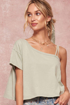 One Shoulder Cropped Oversized T-Shirt