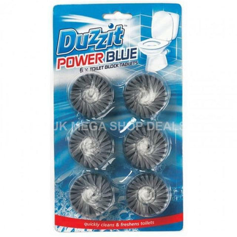 Duzzit 6 x Power Blue Toilet Block Tablets Cleans & Freshens Lasting Fragrance