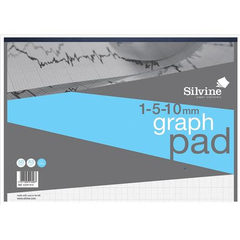Silvine Student Graph Pad 90gsm 1mm 5mm 10mm