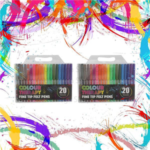 40x COLOUR THERAPY FINE TIP FELT PENS COLOURING DRAWING PENS ART & CRAFT fiber