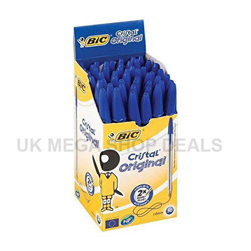 BIC BLUE Ink CRISTAL Medium Ball Pens Biros Ball Point Home Office UK Seller