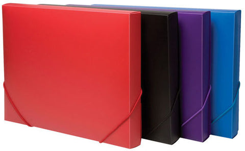 Elasticated A4 Box Files - Solid Colours
