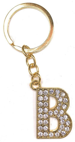 Gold Alphabet Keyring A-Z Initials Key Ring Shiny Key Chain Letter