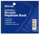 Silvine - Duplicate Receipt Book Carbonless numbered 1-100 Pages Easy Tear - 720
