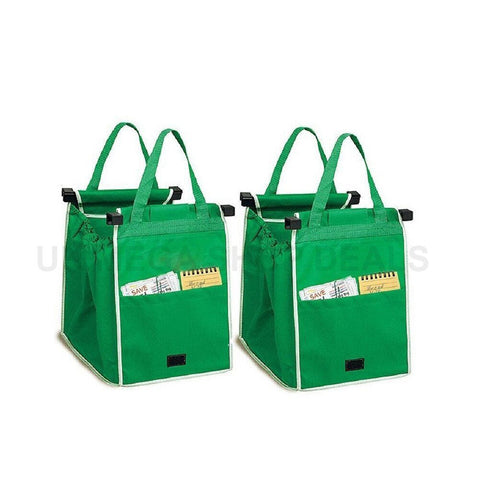 New 2x Supermarket Shopping Trolley Foldable Reusable Grocery Grab Clip