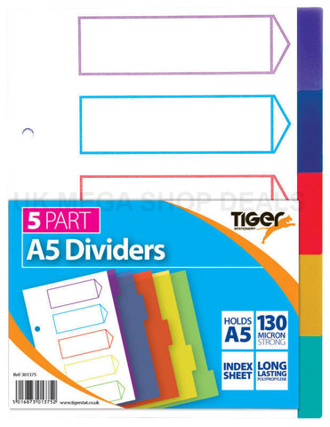 A5 A4 File Dividers Plastic Coloured Tabs (Numbered A-Z Extra Wide)