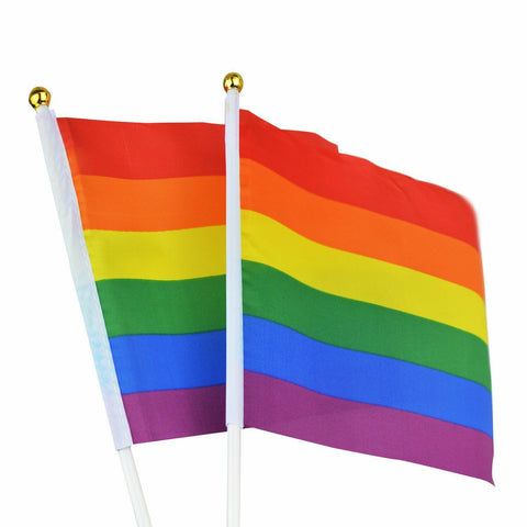 Mini Handheld Flags with Waving Sticks - Gay Pride LGBT (Small Stick)