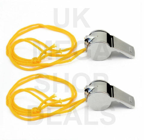 2 X METAL REFEREE WHISTLE WITH KEY RING