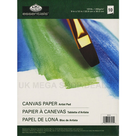 ROYAL & LANGNICKEL ESSENTIAL Canvas Paper Artist Pads 10 SHEETS 9