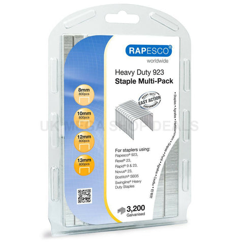 Rapesco Heavy Duty 923 (Type 23) Staple Multipack 8-13mm Resealable pack of 3200