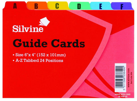 Silvine Guide Cards 6x4 - A-Z Tabbed