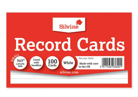 Revision/Flash/Index Silvine Record Cards - White/Ruled/Coloured
