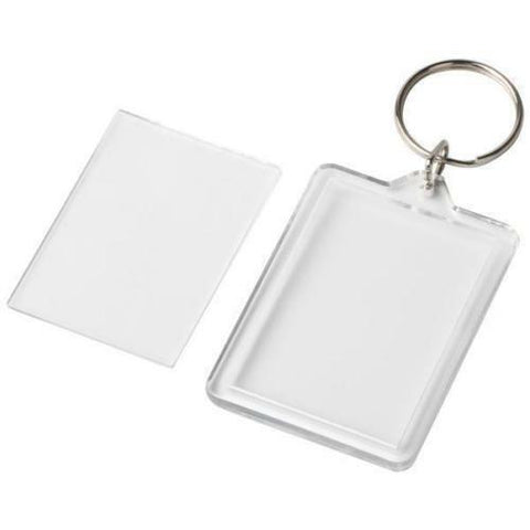 Transparent Blank Insert Photo Picture Frame Key Ring Insert Size 45 mm x 32mm.