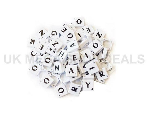 WHITE Plastic Scrabble Tiles Letters for Art & Crafts Scrapbook Game 100-1000