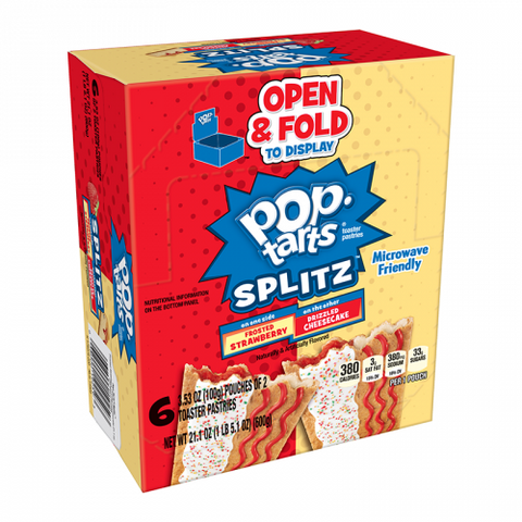 Pop Tarts Splitz Frosted Strawberry & Cheesecake 12 pack (6 x 2 pouches)