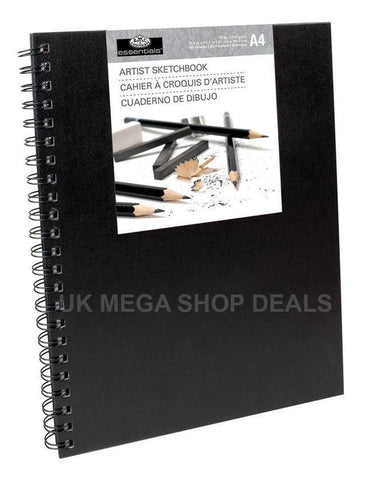 A4 Royal & Langnickel Spiral Sketchbook Sketchpad Black Hardback Cartridge 96gsm