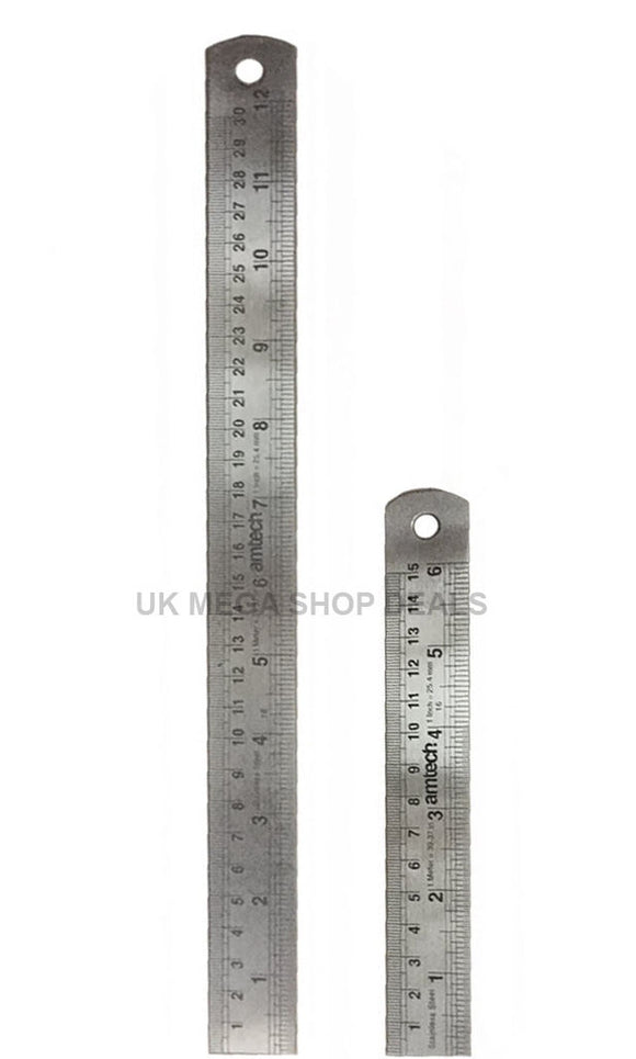 GENUINE AMTECH 2 PIECE SET STEEL RULE IMPERIAL METRIC RULER MARKING METAL