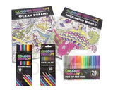 Adult Anti Stress Therapy Colouring Book (20 FINETIP PENS)