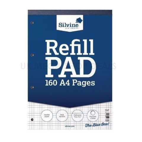 Silvine Refill Pad A4 160 a4 Pages Ruled 5mm Square perforated punched 4 holes