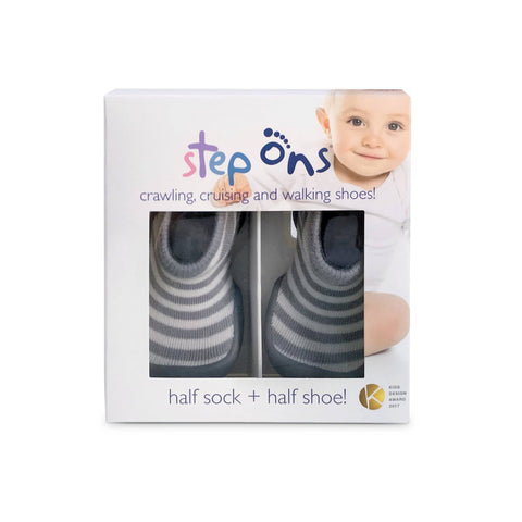 Image of Step Ons Crawling, Cruising, Pre-Walking Baby Sock Shoe Blue
