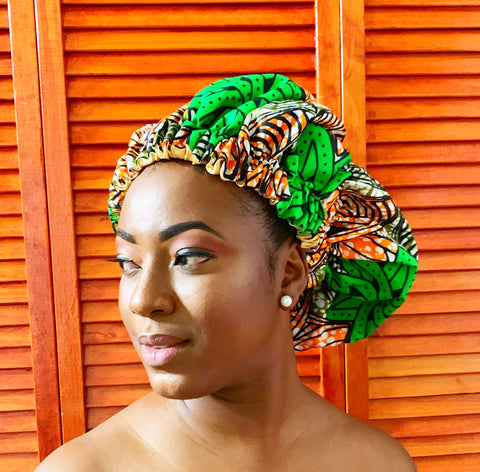Green Flora Ankara/Satin Bonnet