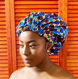 Blue Polka Dot Ankara/Satin Bonnet