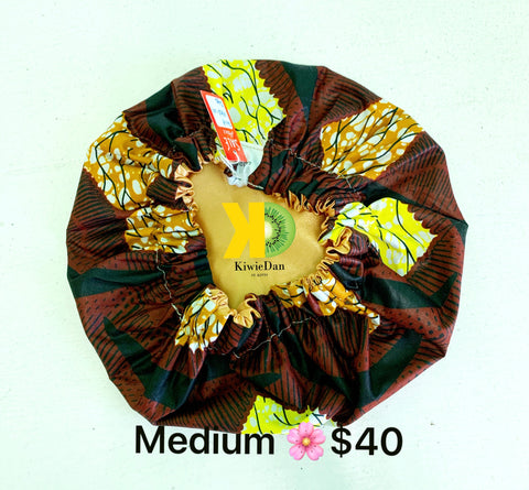 Dark Brown Ankara/Satin Bonnet