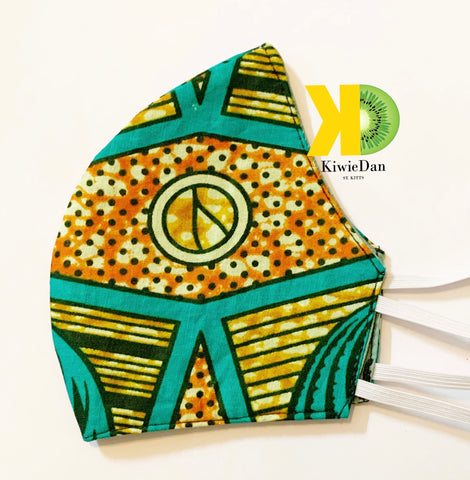 Teal African Face Mask