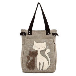 Canvas handbag with Custom Cat Applique