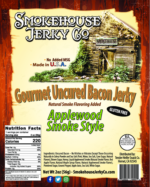 Applewood Smoked Bacon Jerky - GLUTEN FREE