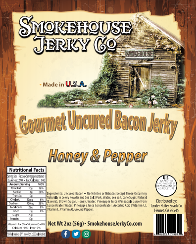 Honey Pepper Bacon Jerky - GLUTEN FREE