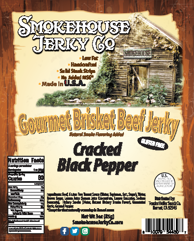 Cracked Black Pepper Brisket Beef Jerky - GLUTEN FREE