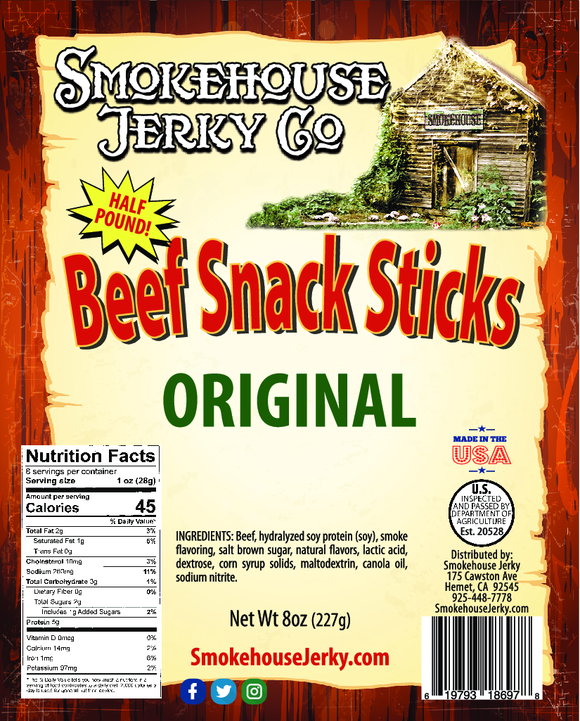 1/2 Pound of Original Flavored Beef Sticks