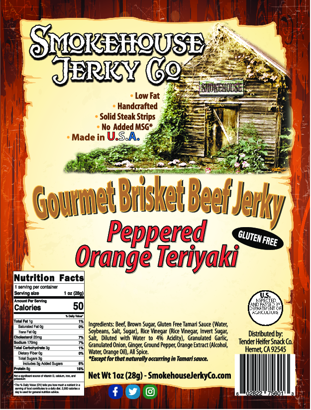 Peppered Orange Teriyaki Brisket Beef Jerky - GLUTEN FREE