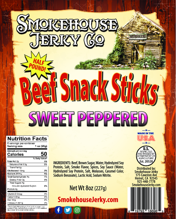 1/2 Pound of Sweet Peppered Beef Sticks