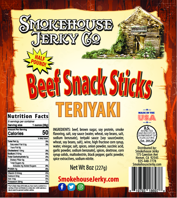 1/2 Pound of Teriyaki Beef Sticks