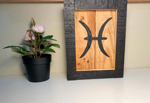 Pisces Mini Wood Zodiac Art