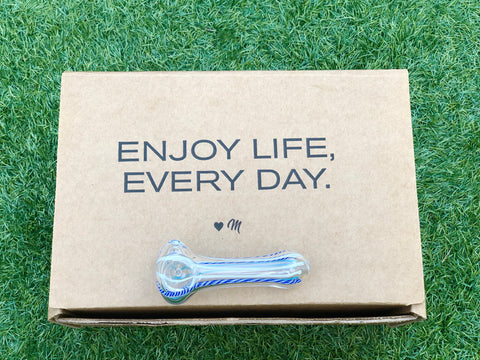 enjoy life every day, enjoy a Me Time artisan glass pipe on us, smoking out of a glass pipe, durable glass pipes