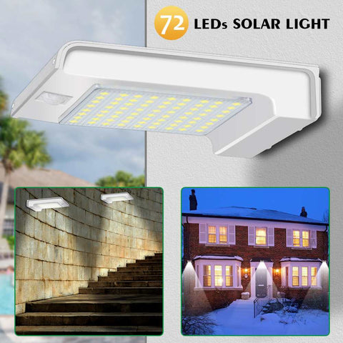 72 LEDs Solar Power PIR Motion Sensor Wall Light