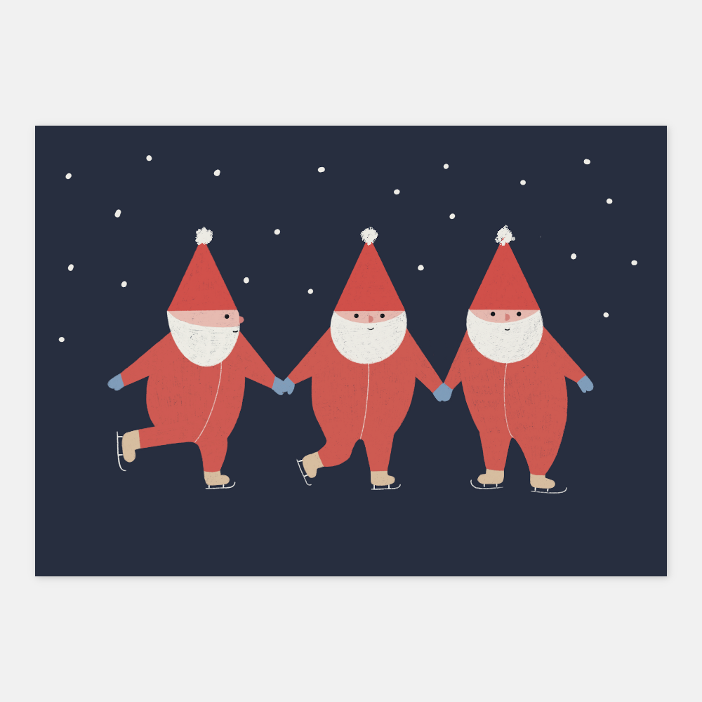 Elves skating Postcard