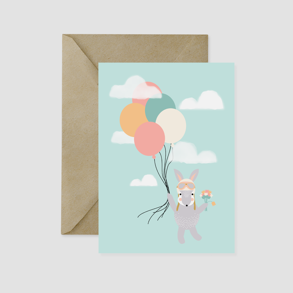 Bunny and Balloons Card