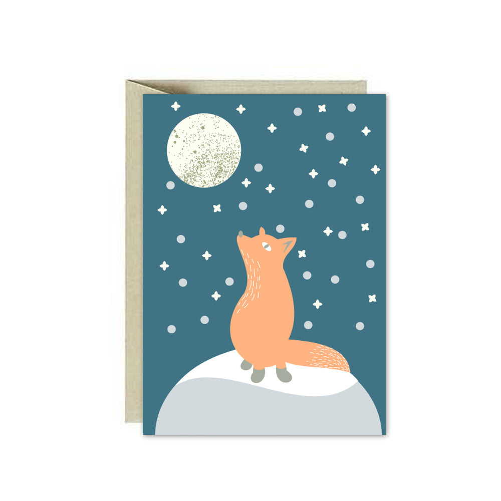Fox in  a moonlight Card