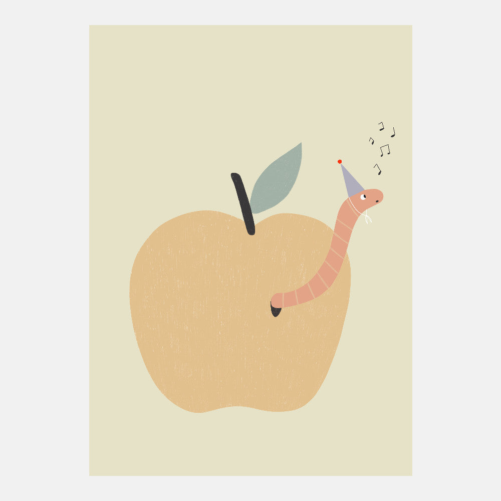 Apple Worm Postcard